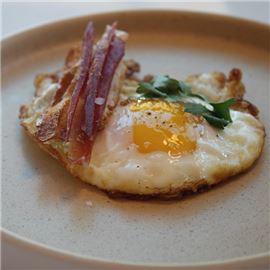 Olive Oil Crispy Egg, Ham, Baguette
